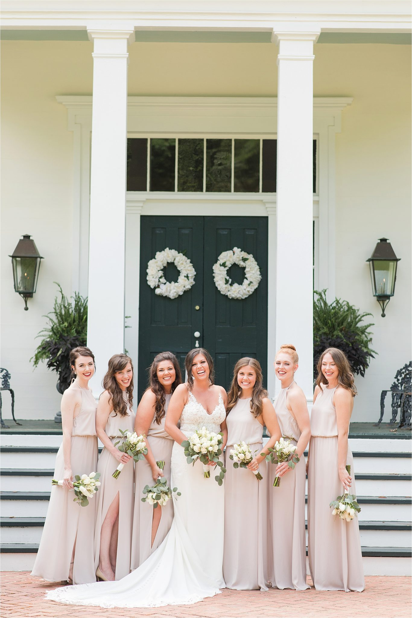 Hedge Farm Wedding, Alabama Wedding Photographer, Barn Wedding, Bride and bridesmaids, Neutrals