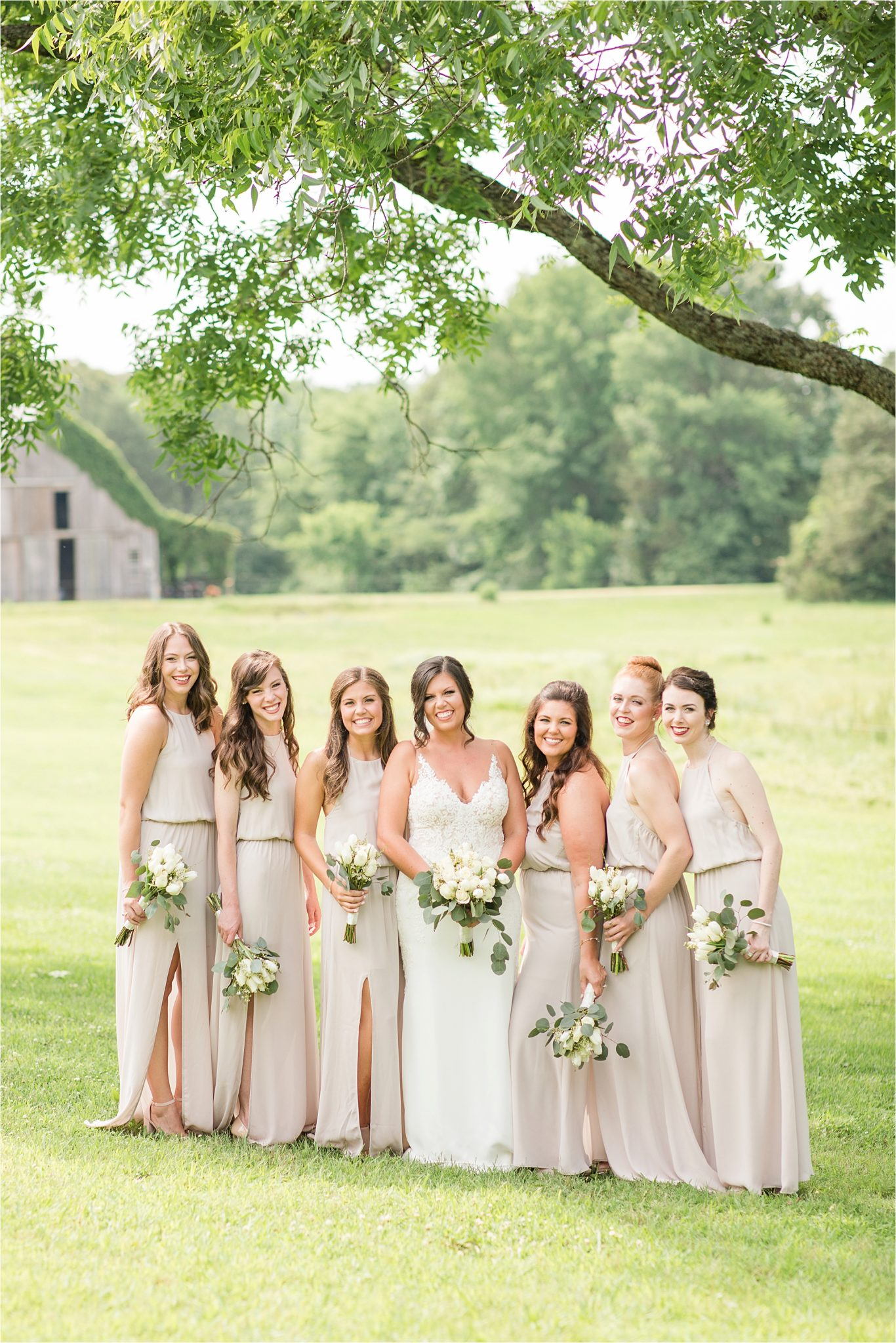 HHedge Farm Wedding, Alabama Wedding Photographer, Barn Wedding, Bride and bridesmaids, Neutrals