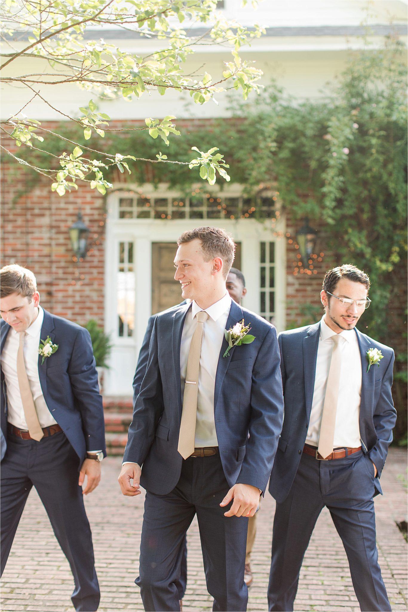 Hedge Farm Wedding, Alabama Wedding Photographer, Barn Wedding, Grooms and groomsmen, navy