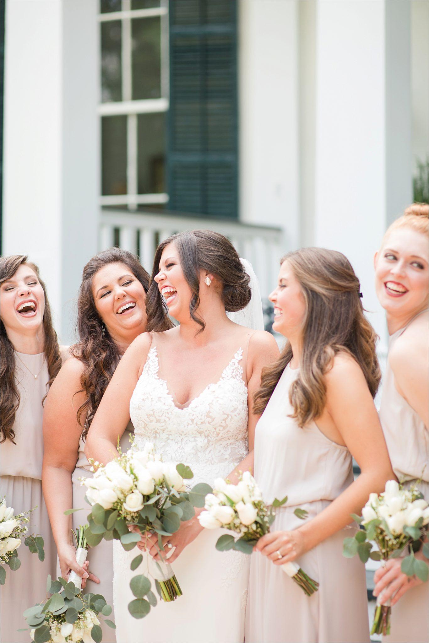 Hedge Farm Wedding, Alabama Wedding Photographer, Barn Wedding, Bride and bridesmaids, Neutrals