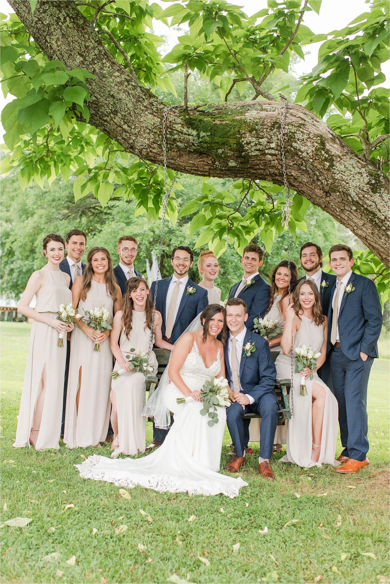 Hedge Farm Wedding, Alabama Wedding Photographer, Barn Wedding, navy and neutral themed wedding, wedding party