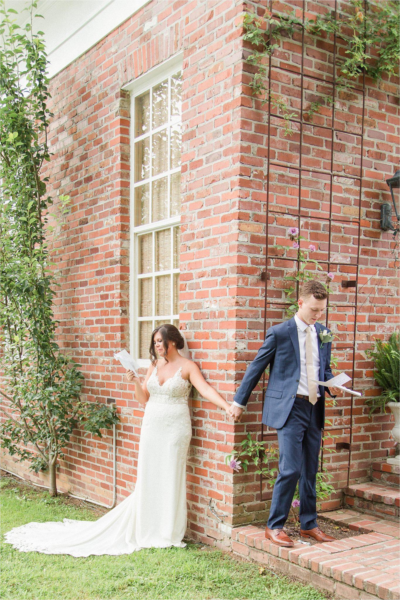 Hedge Farm Wedding, Alabama Wedding Photographer, Barn Wedding, first look, navy themed wedding