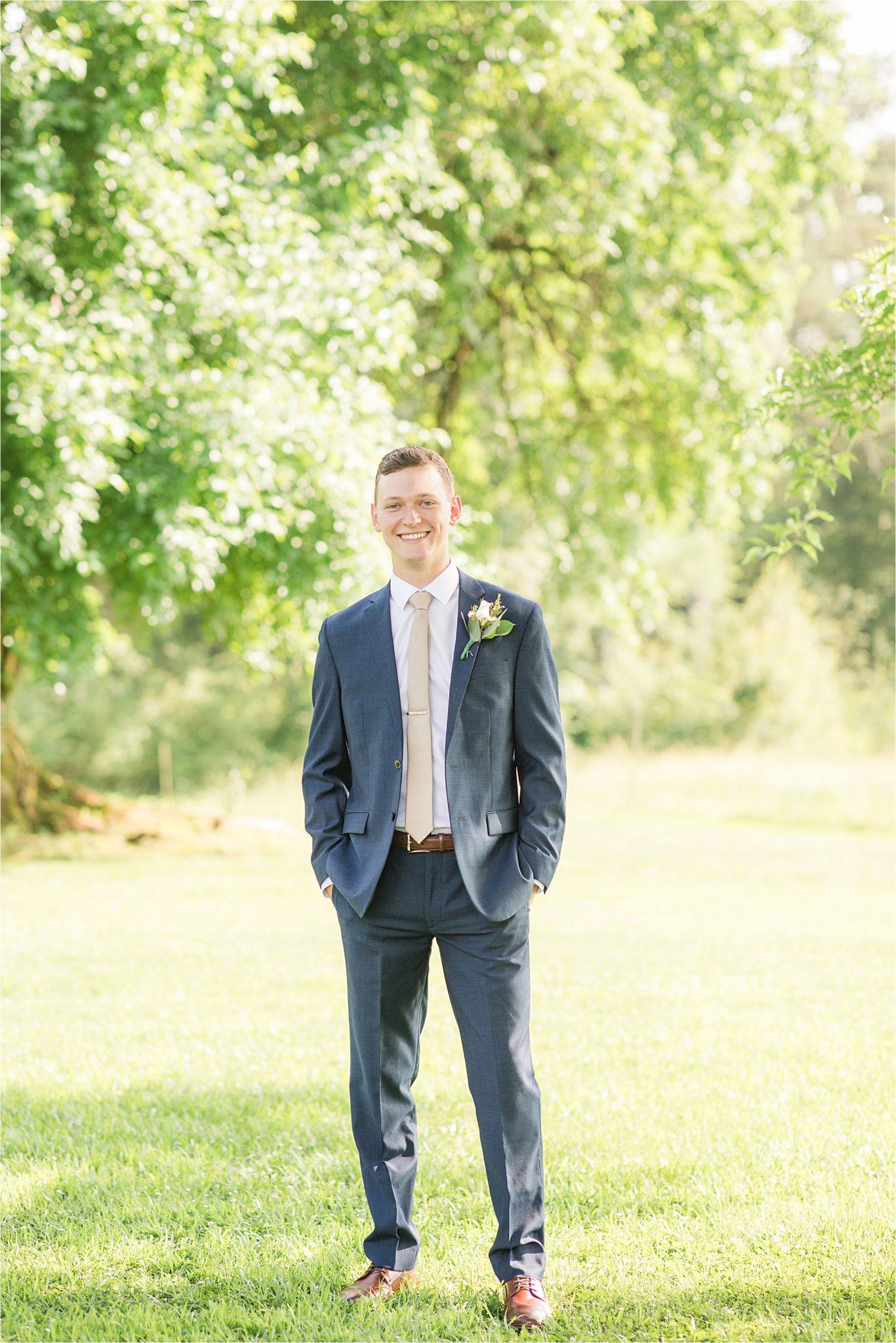 Hedge Farm Wedding, Alabama Wedding Photographer, Barn Wedding, Groom, navy