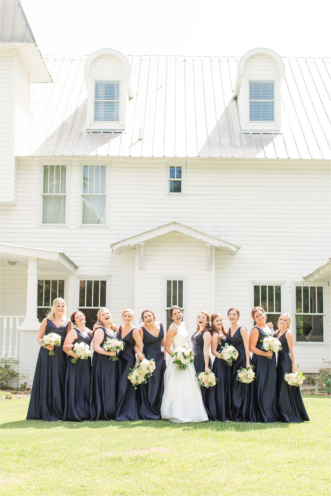 Sonnet House, Birmingham Alabama Wedding Photographer, Bride and bridesmaid, Blue themed wedding
