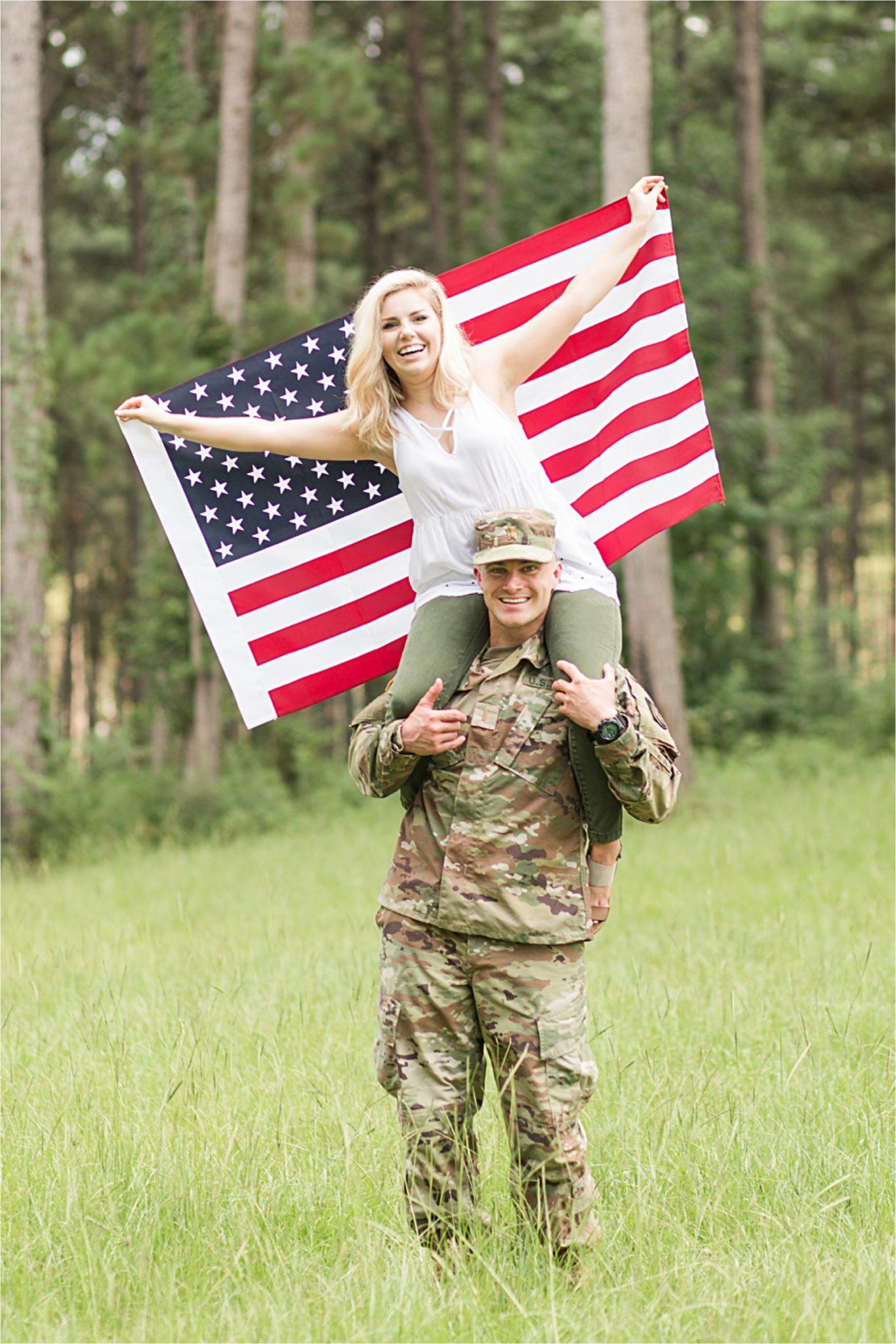 Laurel Mississippi, Brett & Sarah, Romantic Military Engagement, Mobile Alabama Photographer, Engagement Shoot Inspiration, American Flag Engagement Shoot