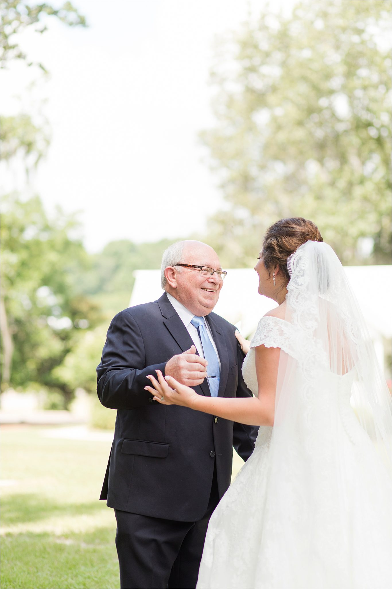 Pastel Themed Wedding-The Chapel at the Waters-Montgomery Alabama Photographer-Miles & Meredyth-Blue Themed Wedding-Bride and Father First Look