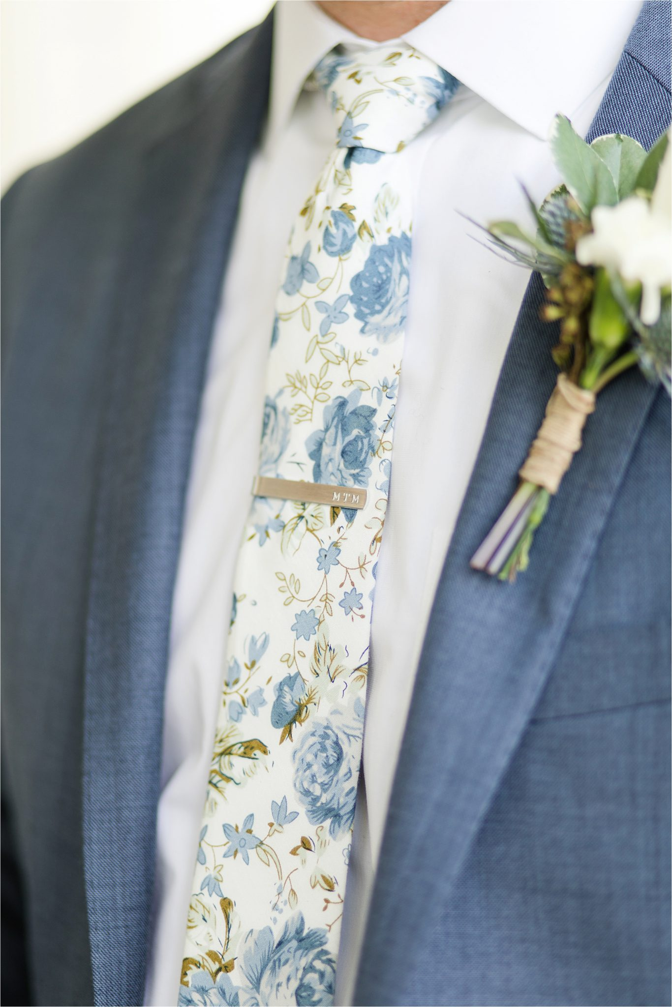 Pastel Themed Wedding-The Chapel at the Waters-Montgomery Alabama Photographer-Miles & Meredyth-Blue Themed Wedding-Alabama Wedding Venue-Groom Boutonnière-Blue Grooms Tuxedo-Grooms Tie