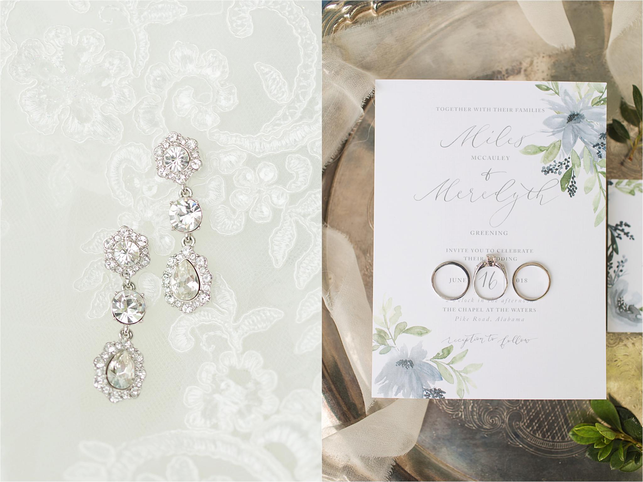 Pastel Themed Wedding-The Chapel at the Waters-Montgomery Alabama Photographer-Miles & Meredyth-Blue Themed Wedding-Wedding Rings-Wedding Earrings-Wedding Details