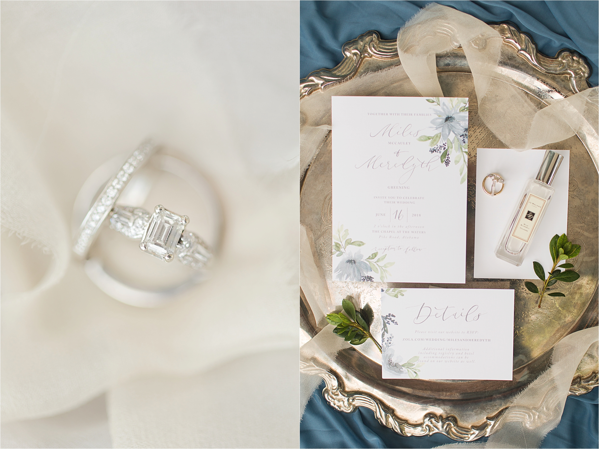 Wedding Details-Pastel Themed Wedding-The Chapel at the Waters-Montgomery Alabama Photographer-Miles & Meredyth-Alabama Bride-Wedding Rings-Blue Themed Wedding
