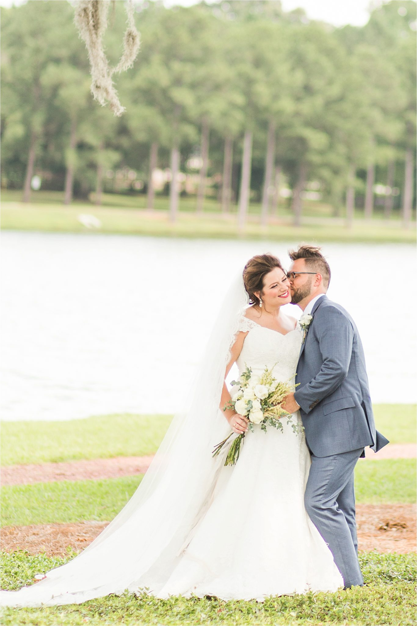 Pastel Themed Wedding-The Chapel at the Waters-Montgomery Alabama Photographer-Miles & Meredyth-Blue Themed Wedding-Bride Bouquet-Wedding Dress