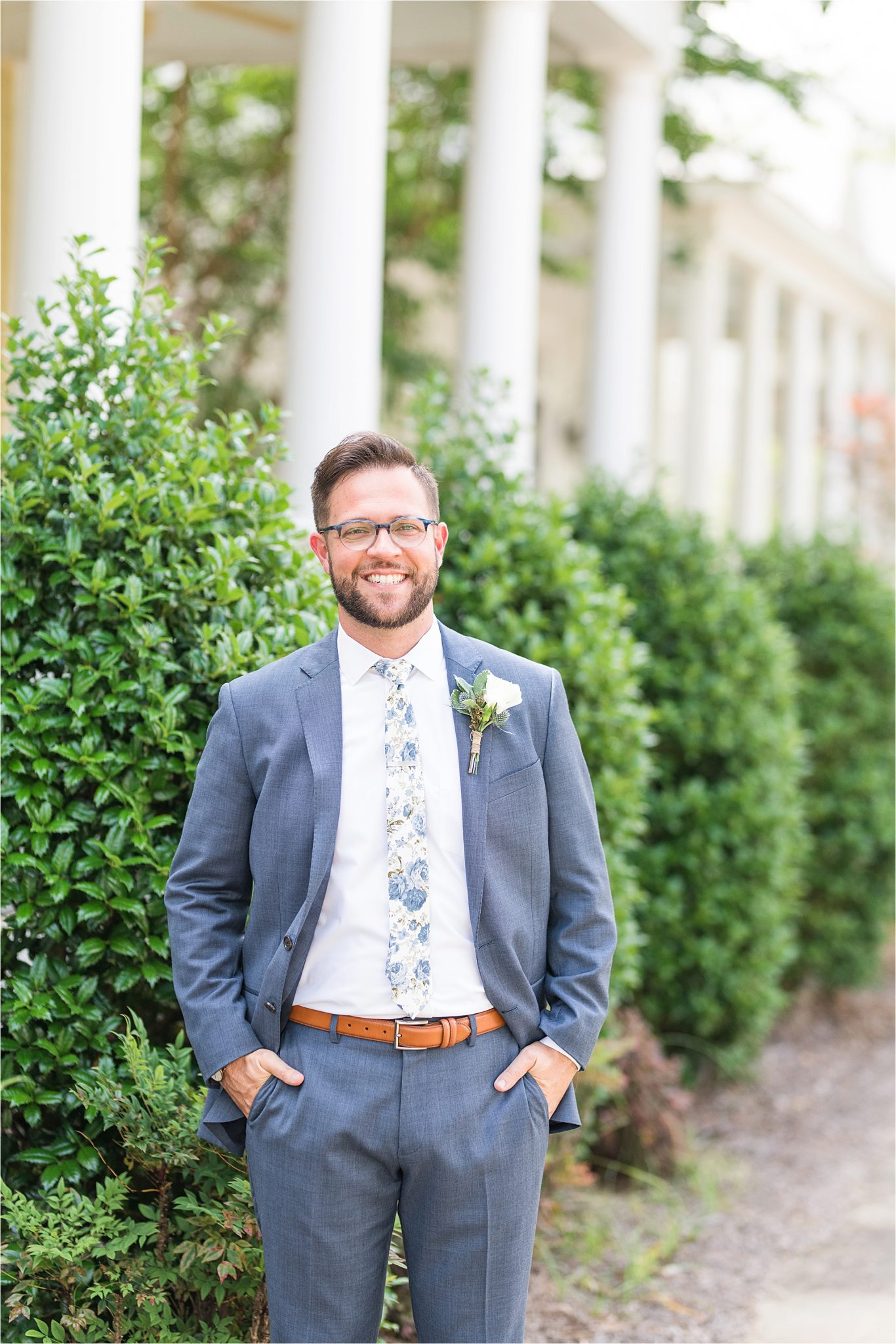 Pastel Themed Wedding-The Chapel at the Waters-Montgomery Alabama Photographer-Miles & Meredyth-Blue Themed Wedding-Groom's Tie-Groom Attire-White Boutonniere