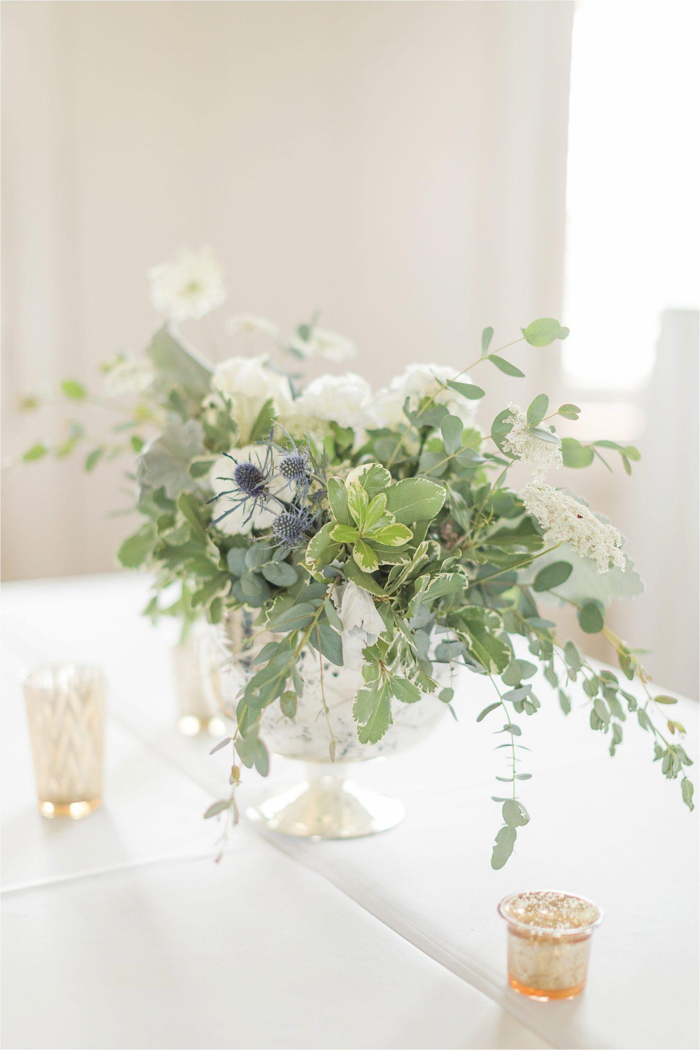 Pastel Themed Wedding-The Chapel at the Waters-Montgomery Alabama Photographer-Miles & Meredyth-Blue Themed Wedding-Alabama Wedding Venue-Wedding Details-Wedding Flower Arrangements-Wedding Table Arrangements
