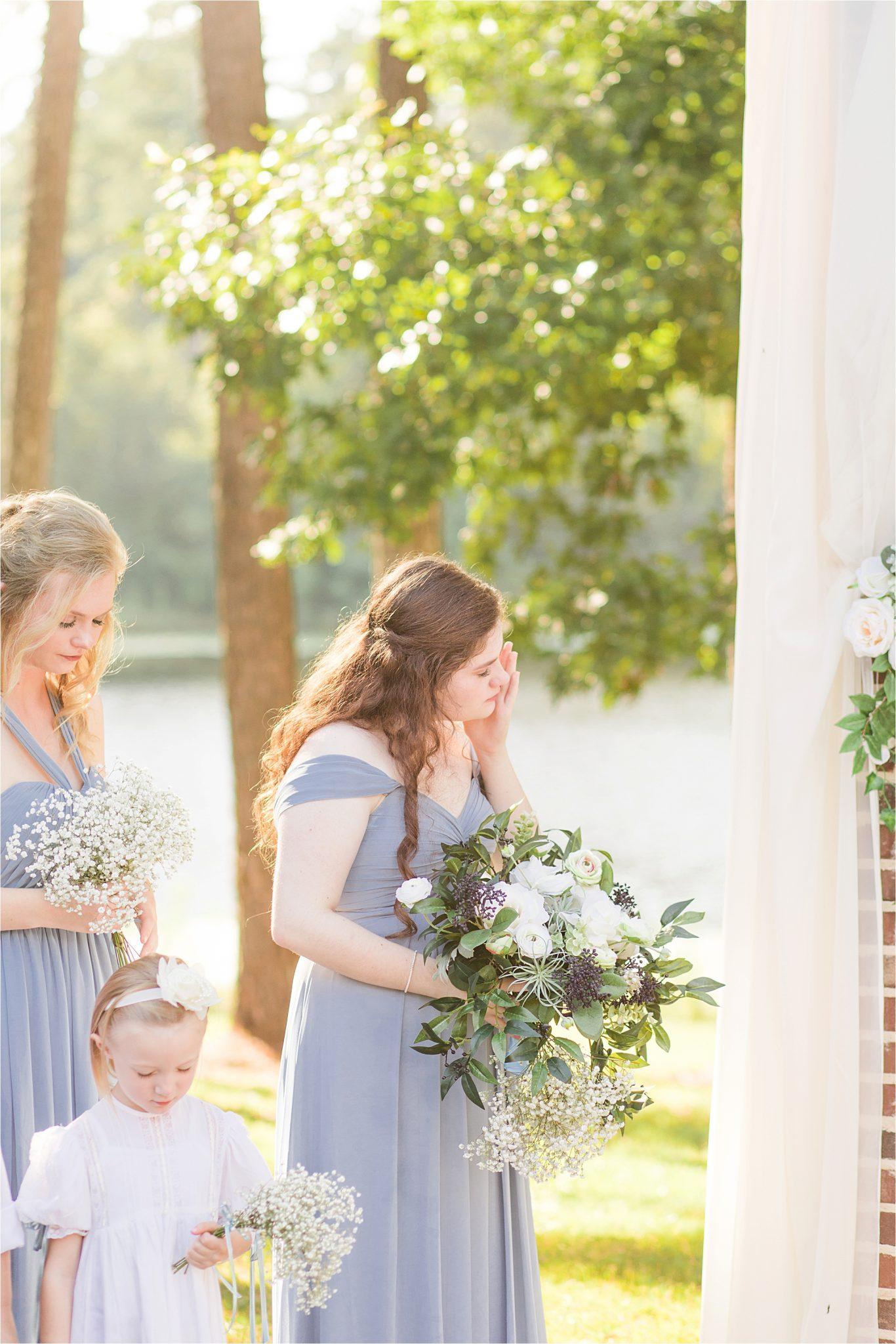 wedding-ceremony-dusty-blue-periwinkle-wedding-flower-girl-bridesmaids