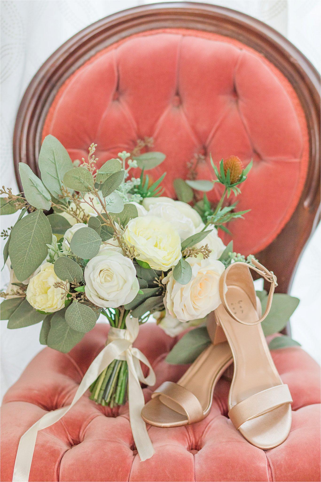 blush-vintage-coushion-antique-chair-rose-gold-wedding-shoes-white-bouqet