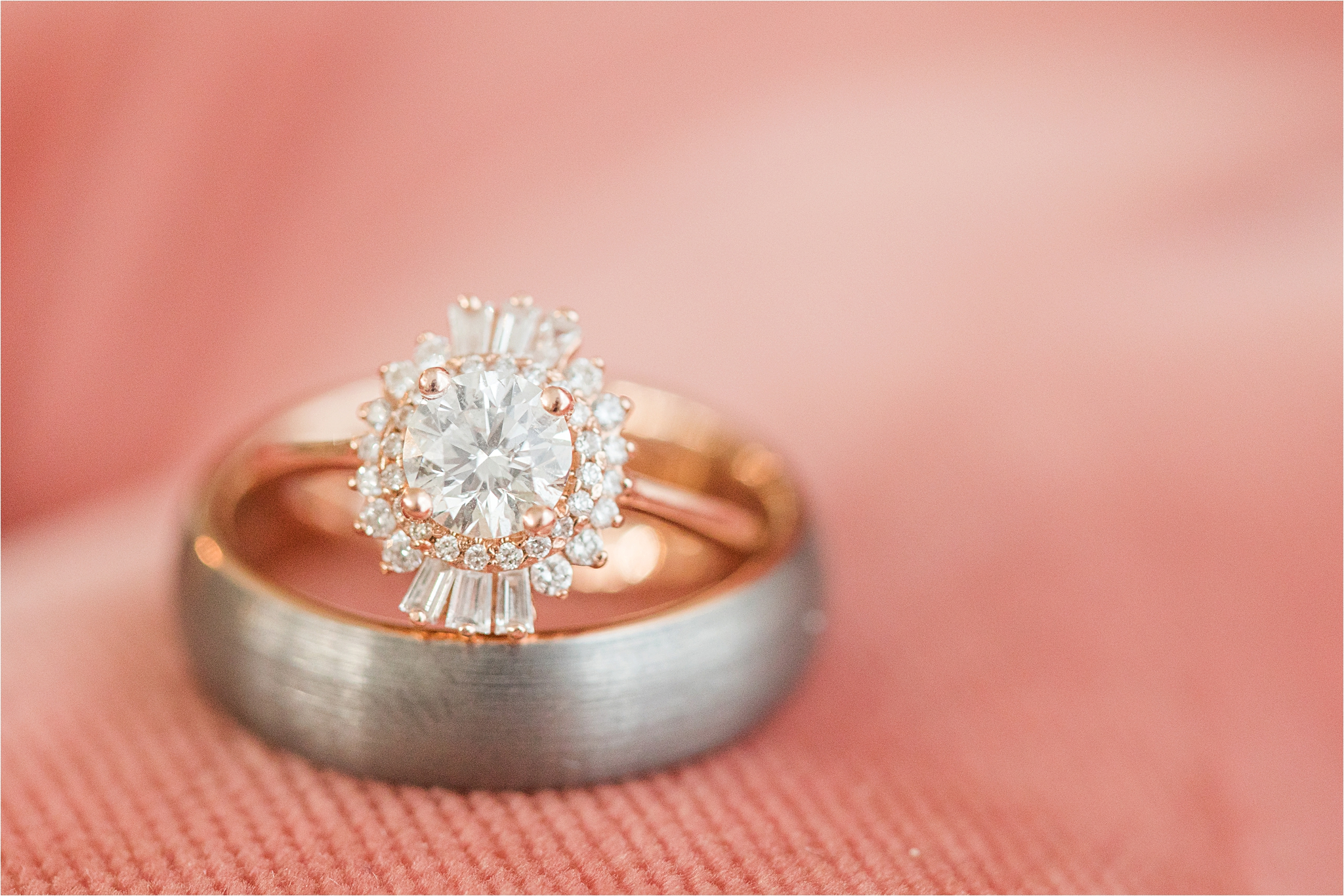 unique-engagement-ring-wedding-band-rose-gold-halo-ornate-oval