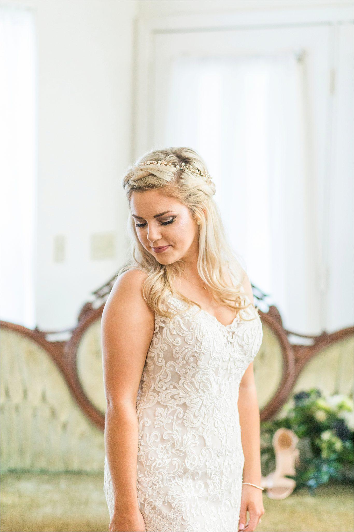 lace-detail-wedding-dress-pearl-flower-crown-bridal-portraits-bride
