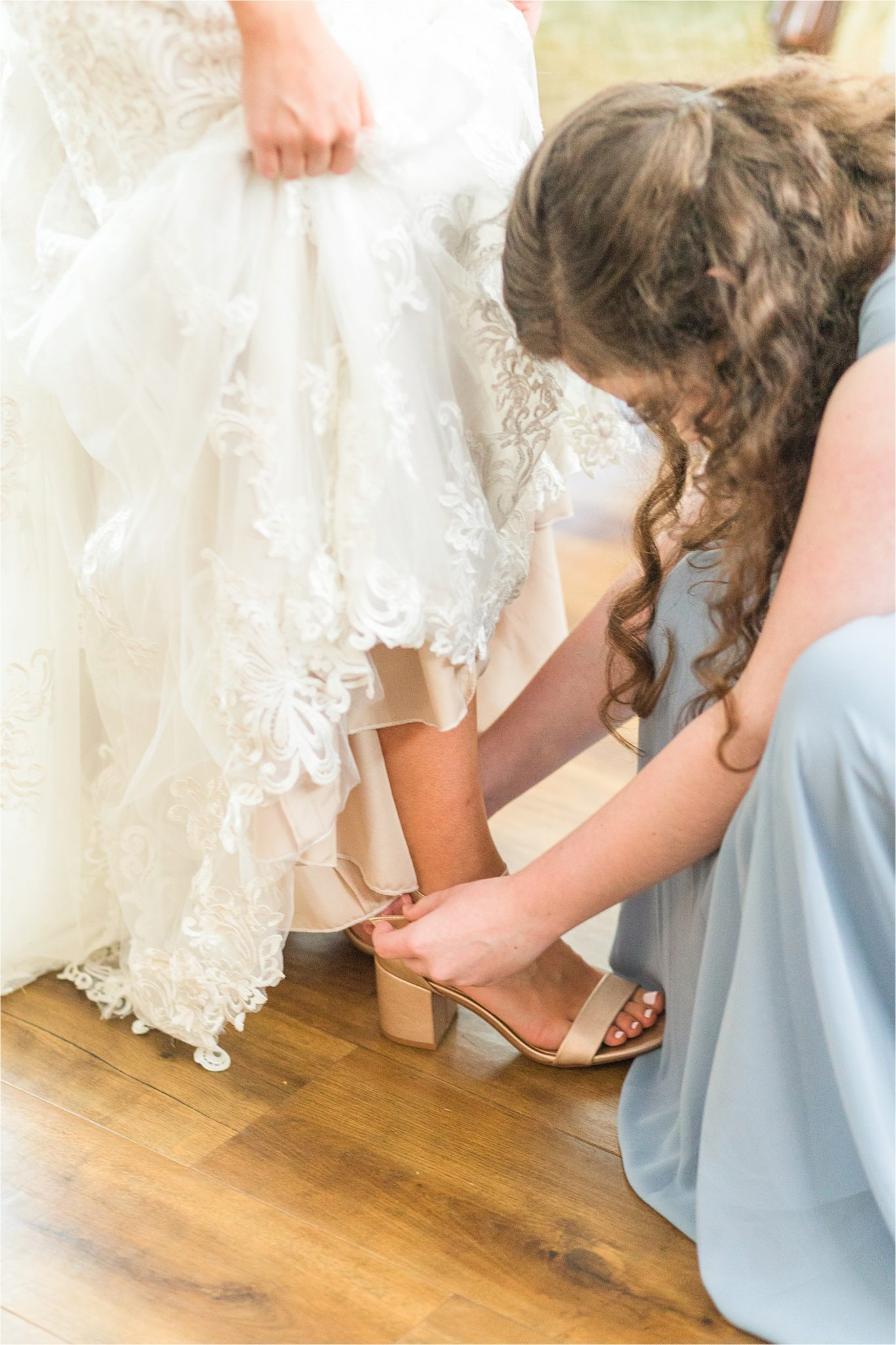 precious-moments-getting-ready-rose-gold-champagne-wedding shoes-maid of honor-precious moments