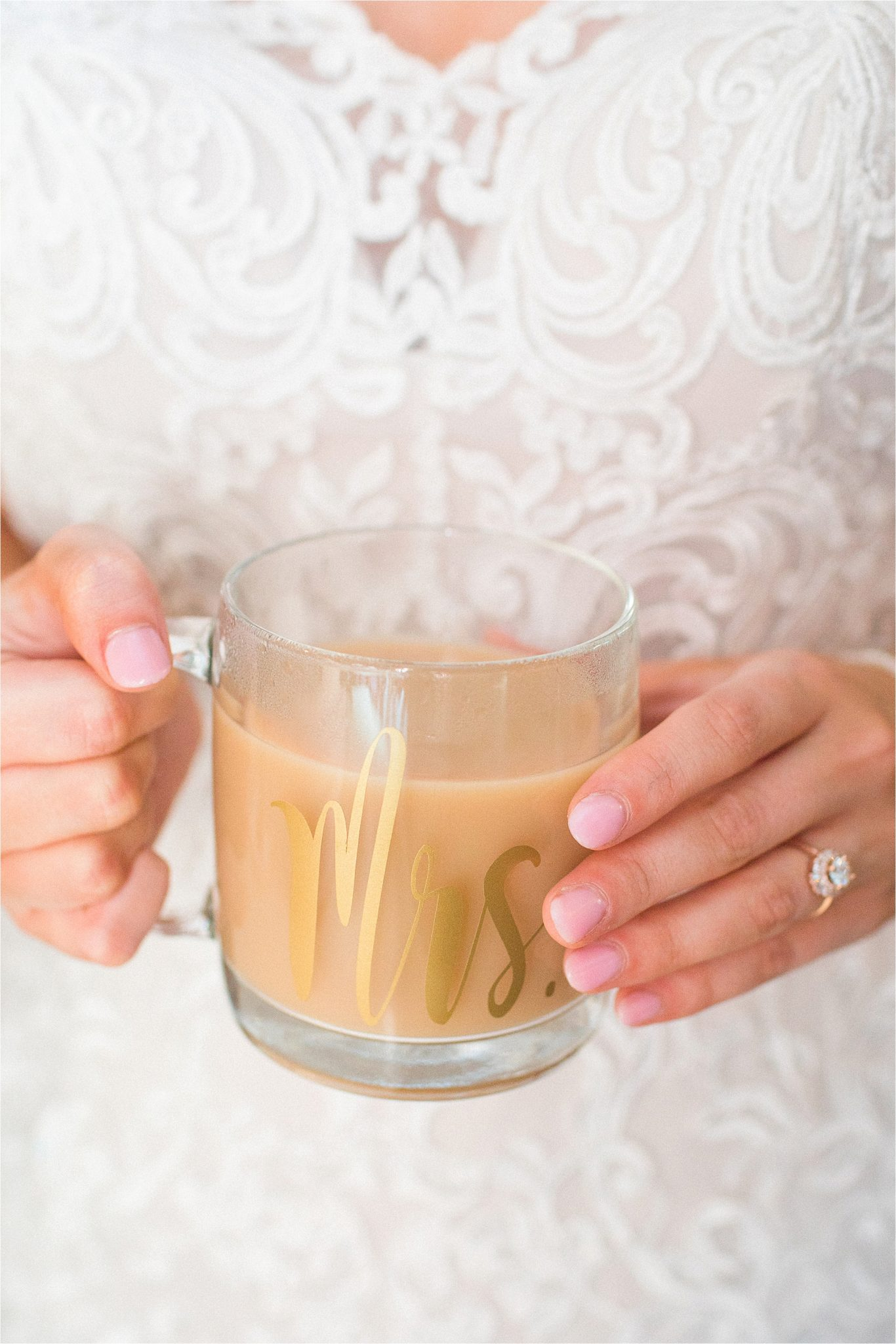 Mrs.-Mug-glass-lace-wedding-dresses-gold-cursive-coffee-reception