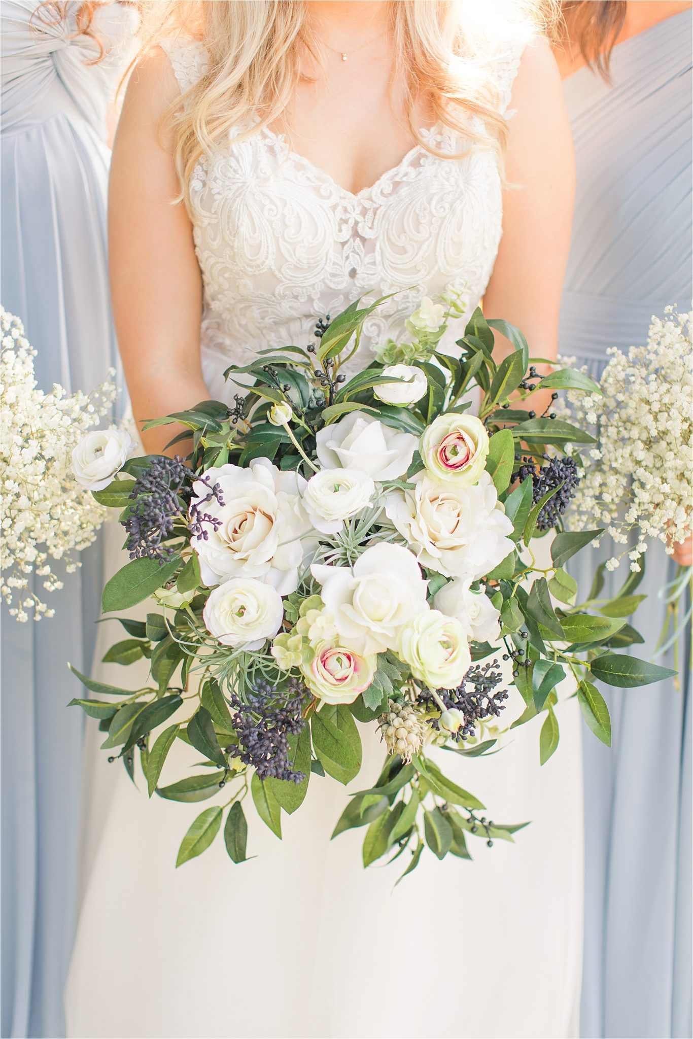 bridal-bouquets-raspberry-periwinkle-blue-white-roses-lace-wedding-dress